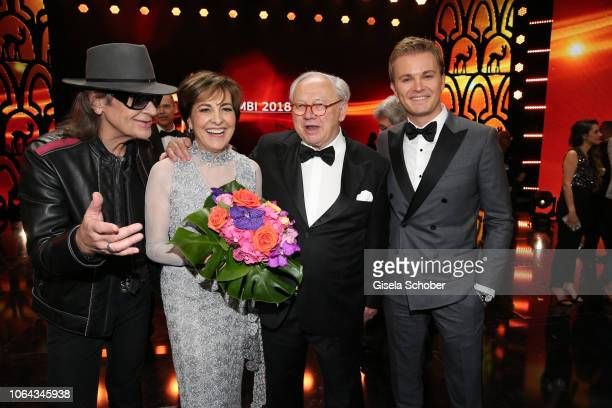 Udo Lindenberg Paola Felix and Dr Hubert Burda and Nico Rosberg during the Bambi Awards 2018 final applause at Stage Theater on November 16 2018 in...