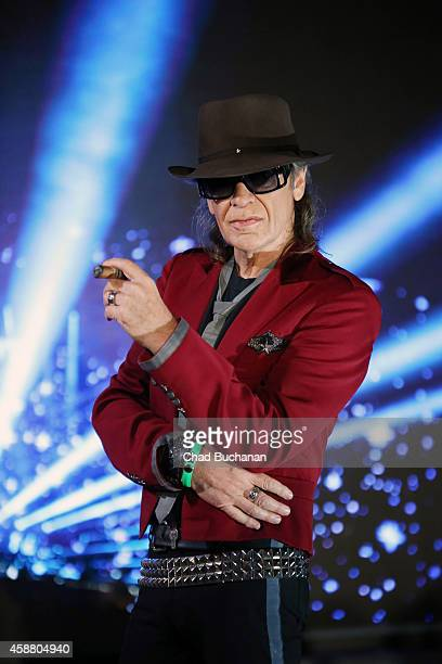 Udo Lindenberg poses for photos during a press conference at the Olympic Stadium on November 11 2014 in Berlin Germany