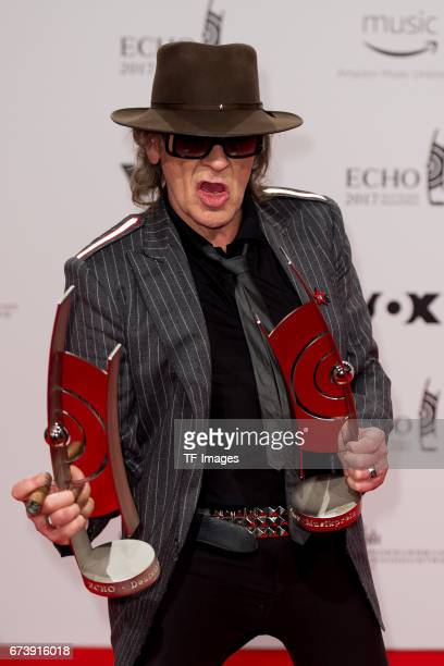 Udo Lindenberg poses with her award during the ECHO German Music Award in Berlin Germany on April 06 2017