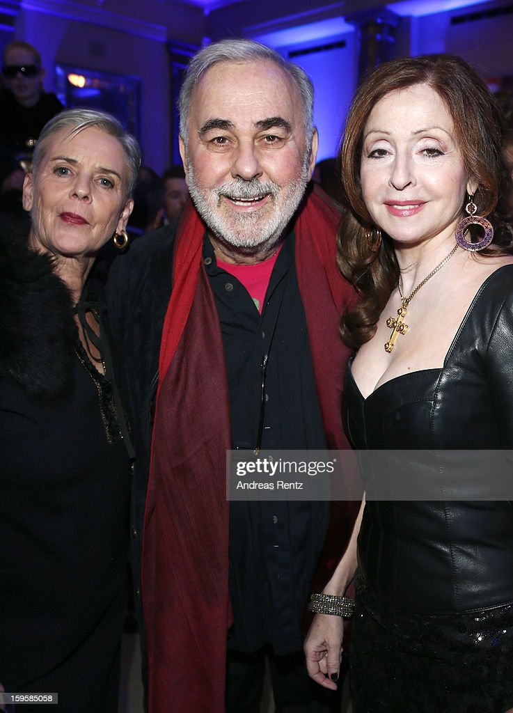 Udo Walz (C) and Vicky Leandros (R) attend Basler Autumn/Winter 2013/14 fashion show during Mercedes-Benz Fashion Week Berlin at Hotel De Rome on January 16, 2013 in Berlin, Germany.