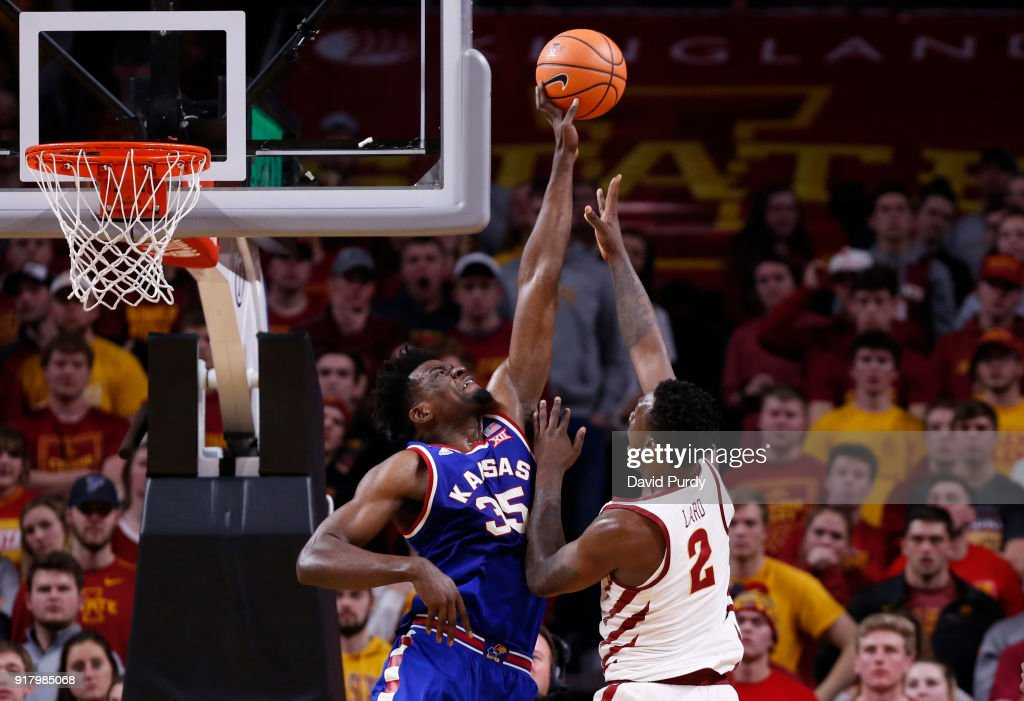 Udoka Azubuike #35 of the Kansas Jayhawks blocks a shot by Cameron Lard #2 of the Iowa State Cyclones in the second half of play at Hilton Coliseum on February 13, 2018 in Ames, Iowa. The Kansas Jayhawks won 83-77 over the Iowa State Cyclones.