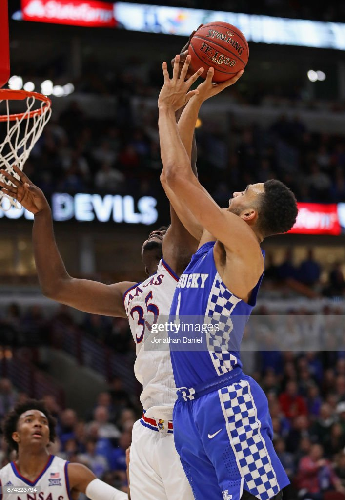 Udoka Azubuike #35 of the Kansas Jayhawks blocks a shot by Sacha Killeya-Jones #1 of the Kentucky Wildcats during the State Farm Champions Classic at the United Center on November 14, 2017 in Chicago, Illinois. Kansas defeated Kentucky 65-61.