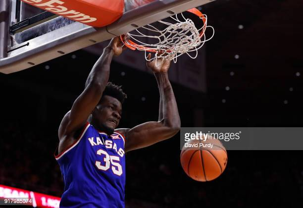 Udoka Azubuike of the Kansas Jayhawks dunks the ball in the second half of play against the Iowa State Cyclones at Hilton Coliseum on February 13...