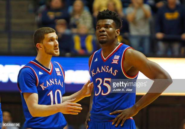 Udoka Azubuike of the Kansas Jayhawks reacts after having a technical foul call on him against the West Virginia Mountaineers at the WVU Coliseum on...