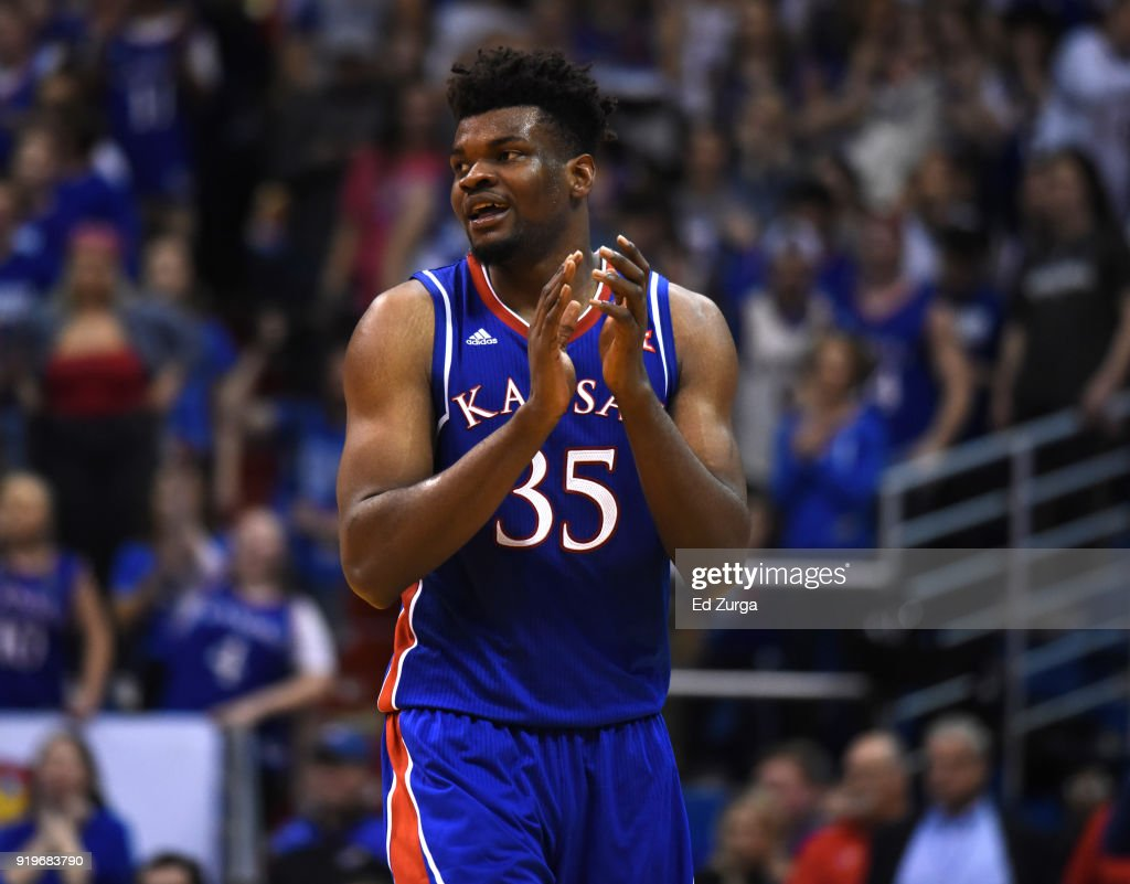 Udoka Azubuike #35 of the Kansas Jayhawks starts to celebrate in the final second during a game against the West Virginia Mountaineers at Allen Fieldhouse on February 17, 2018 in Lawrence, Kansas. Kansas won 77-69.