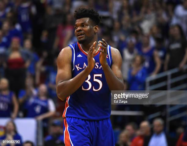 Udoka Azubuike of the Kansas Jayhawks starts to celebrate in the final second during a game against the West Virginia Mountaineers at Allen...