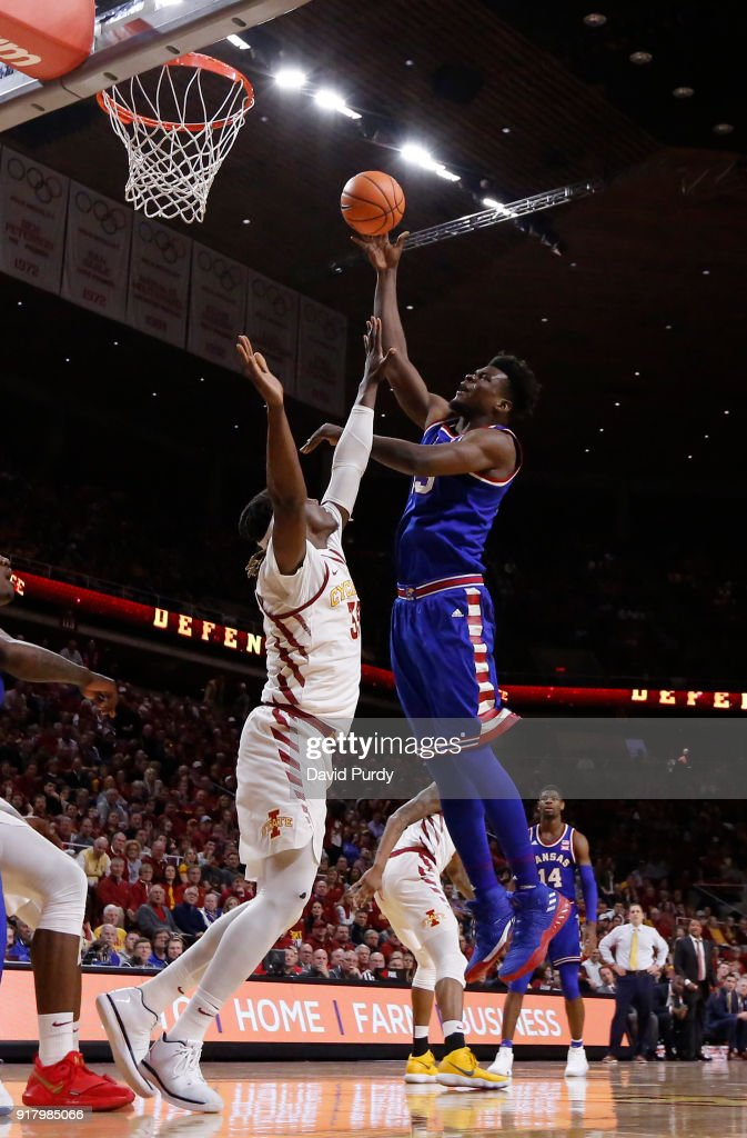 Udoka Azubuike #35 of the Kansas Jayhawks takes a shot over Solomon Young #33 of the Iowa State Cyclones in the second half of play at Hilton Coliseum on February 13, 2018 in Ames, Iowa. The Kansas Jayhawks won 83-77 over the Iowa State Cyclones.
