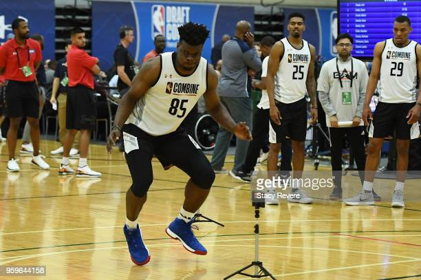 Udoka Azubuike participates in drills during Day One of the NBA Draft Combine at Quest MultiSport Complex on May 17 2018 in Chicago Illinois NOTE TO...
