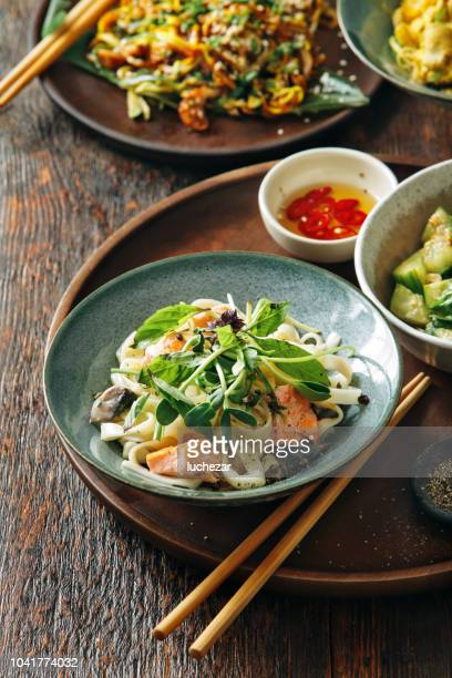 Udon noodle with salmon