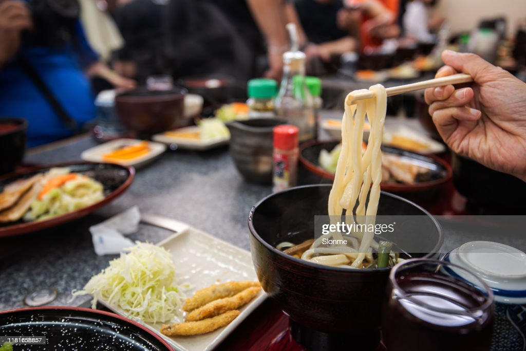 udon noodles in japan restaurant : Stock Photo