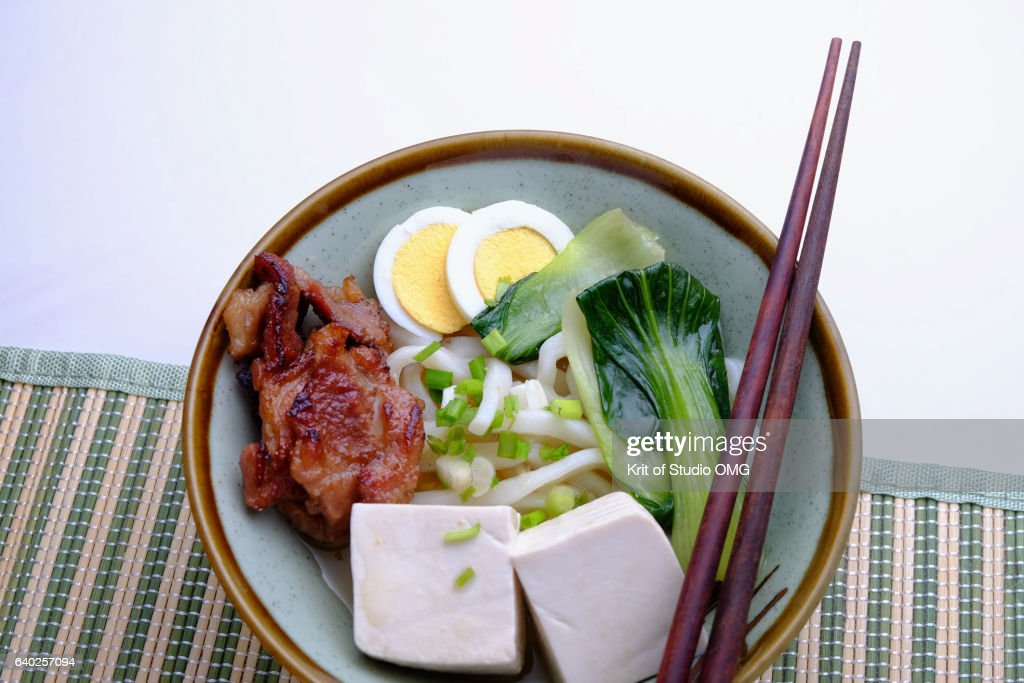 Udon topping by tofu and fried pork : ストックフォト