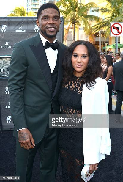 Udonis Haslem and Faith Rein attends Miami Heat Black Tie On Ocean Drive Gala at Betsy Hotel Rooftop on March 14 2015 in Miami Beach Florida