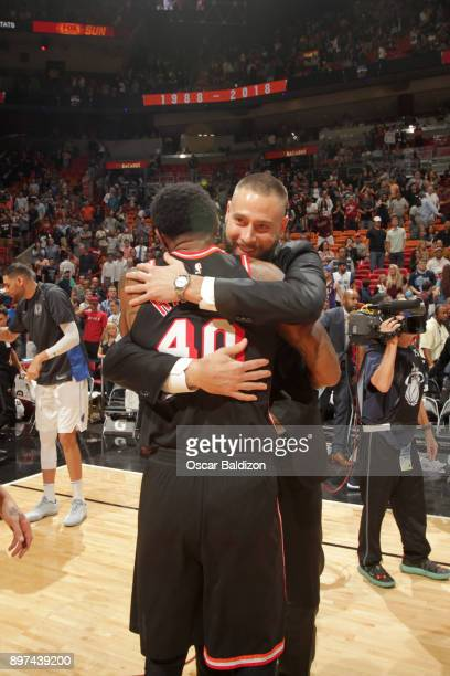 Udonis Haslem of the Miami Heat and Josh McRoberts of the Dallas Mavericks after the game on December 22 2017 at American Airlines Arena in Miami...