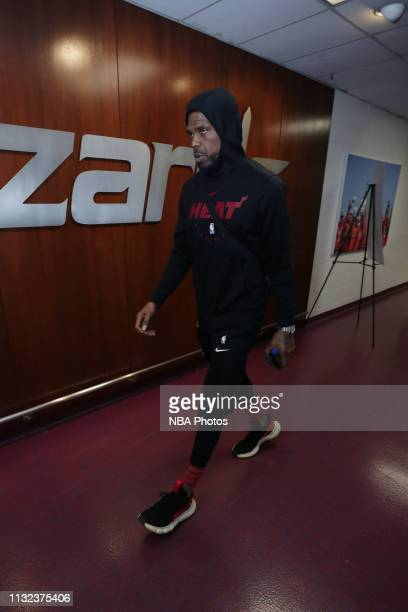 Udonis Haslem of the Miami Heat arrives to the arena prior to the game against the Washington Wizards on March 23 2019 at Capital One Arena in...