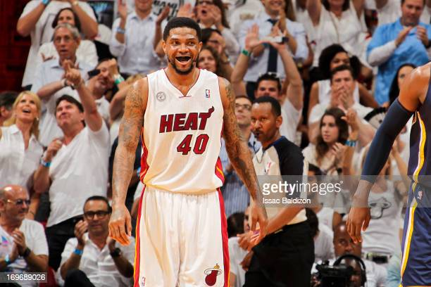 Udonis Haslem of the Miami Heat celebrates while playing the Indiana Pacers in Game Five of the Eastern Conference Finals during the 2013 NBA...