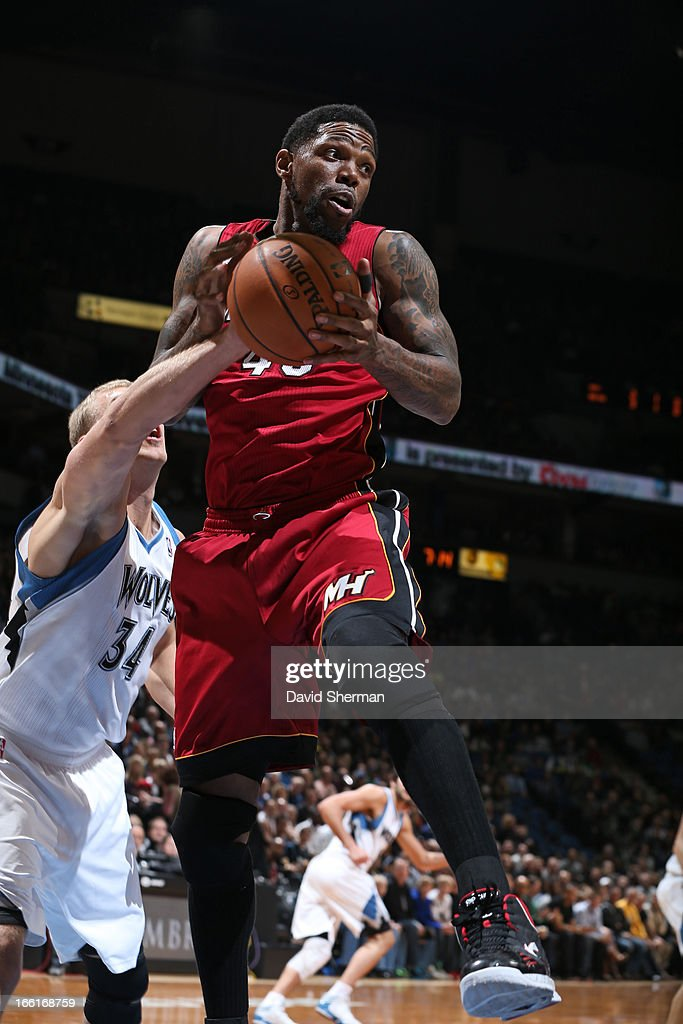 Udonis Haslem #40 of the Miami Heat drives to the basket against the Minnesota Timberwolves on March 4, 2013 at Target Center in Minneapolis, Minnesota.
