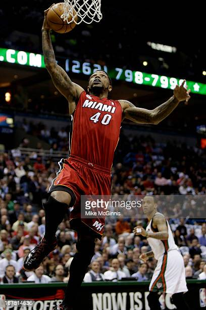 Udonis Haslem of the Miami Heat drives to the hoop against the Milwaukee Bucks during Game Three of the Western Conference Quarterfinals of the 2013...
