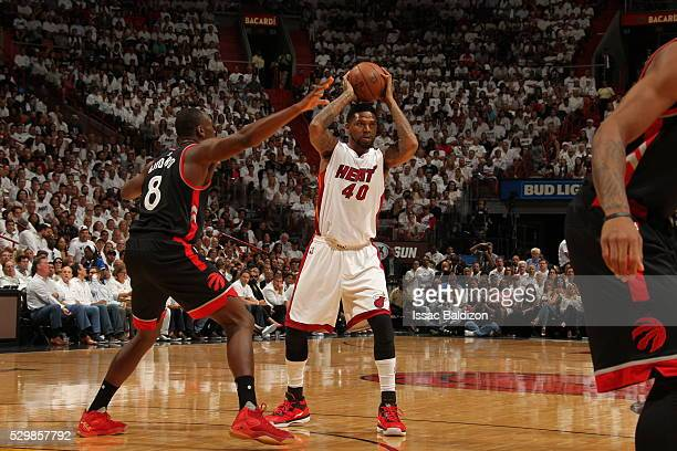 Udonis Haslem of the Miami Heat handles the ball against the Toronto Raptors in Game Four of the Eastern Conference Semifinals at AmericanAirlines...