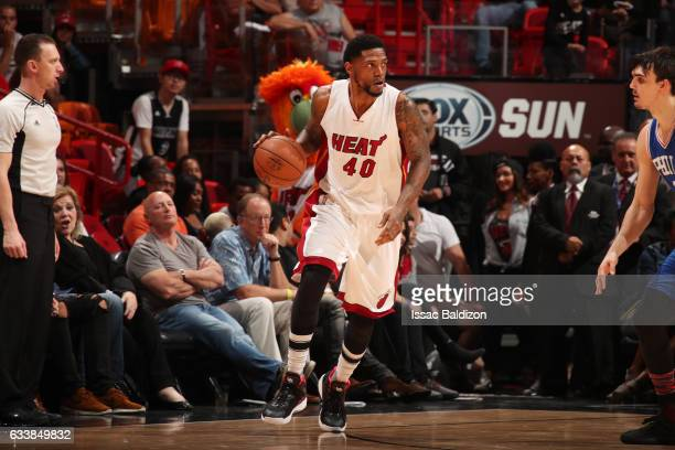 Udonis Haslem of the Miami Heat handles the ball during a game against the Philadelphia 76ers on February 4 2017 at American Airlines Arena in Miami...