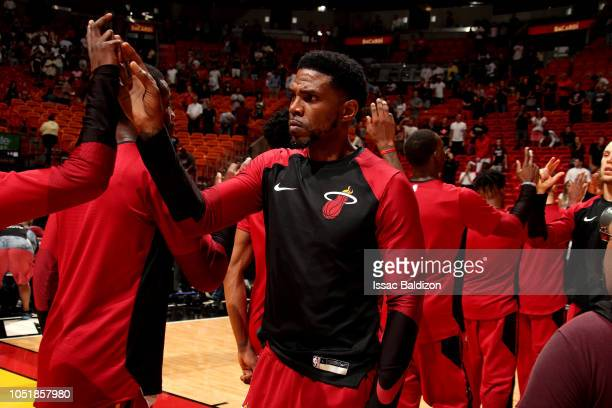 Udonis Haslem of the Miami Heat is seen before the game against the New Orleans Pelicans on October 10 2018 at American Airlines Arena in Miami...