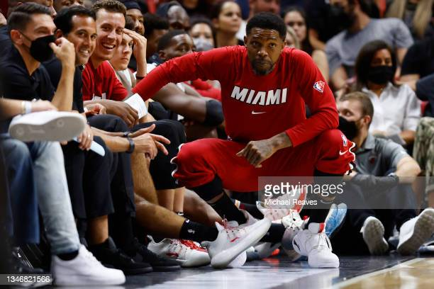 Udonis Haslem of the Miami Heat looks on against the Boston Celtics during the second half of a preseason game at FTX Arena on October 15, 2021 in...