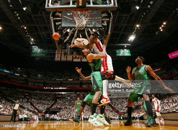 Udonis Haslem of the Miami Heat makes a pass against Paul Pierce of the Boston Celtics in Game Two of the Eastern Conference Finals during the 2012...