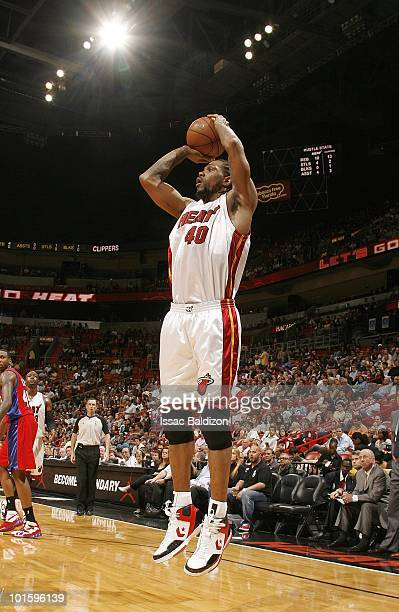 Udonis Haslem of the Miami Heat takes a jump shot during the game against the Los Angeles Clippers on March 10 2010 at American Airlines Arena in...