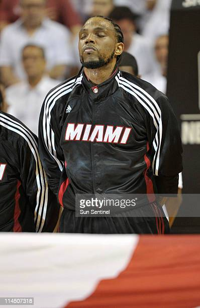 Udonis Haslem of the Miami Heat takes a moment before Game 3 of the NBA Eastern Conference Finals at the American Airlines Arena in Miami Florida on...