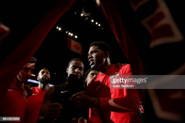 Udonis Haslem of the Miami Heat talks in the team huddle prior to the game against the Golden State Warriors on December 3, 2017 in Miami Florida....