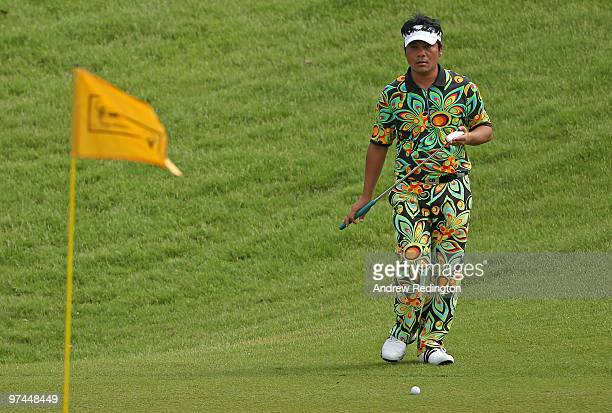 Udorn Duangdecha of Thailand lines up a putt on the 14th hole during the the second round of the Maybank Malaysian Open at the Kuala Lumpur Golf and...