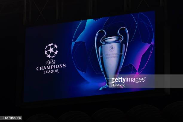 Uefa Champions League logo during the UEFA Champions League 2019/2020 Group Stage Match between FC Internazionale Milan and FC Barcelona at Stadio...