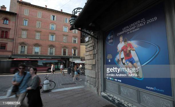 Uefa Under 21 Championship billboard is seen in the Piazza Maggiore on June 13, 2019 in Bologna, Italy.