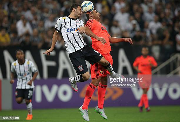 Uendel of Corinthians fights for the ball with Diego Souza of Sport during the match between Corinthians and Sport Recife for the Brazilian Series A...