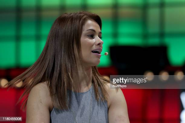UFCs Fighter Paige VanZant speaks during the annual Web Summit technology conference in Lisbon Portugal on November 6 2019