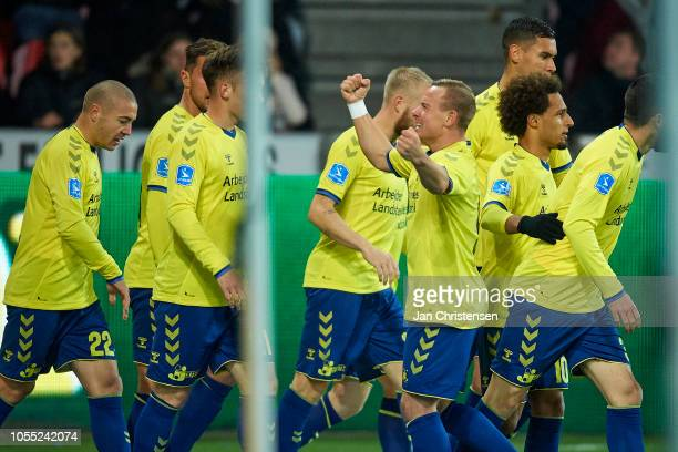 Uffe Bech of Brondby IF and teammates celebrate after his 01 goal during the Danish Superliga match between FC Midtjylland and Brondby IF at MCH...