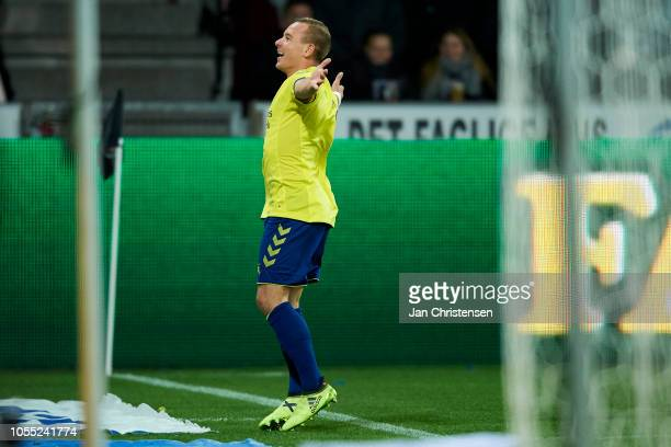 Uffe Bech of Brondby IF celebrate after his 01 goal during the Danish Superliga match between FC Midtjylland and Brondby IF at MCH Arena on October...