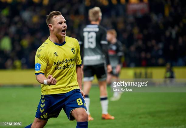 Uffe Bech of Brondby IF celebrates after scoring their first goal during the Danish Superliga match between Brondby IF and Vendsyssel FF at Brondby...