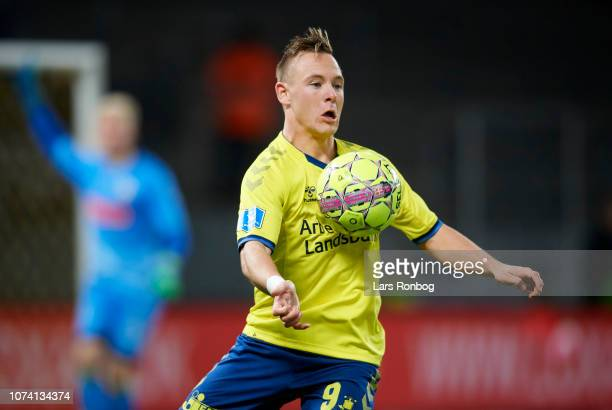 Uffe Bech of Brondby IF controls the ball during the Danish Superliga match between Brondby IF and Vendsyssel FF at Brondby Stadion on December 16...