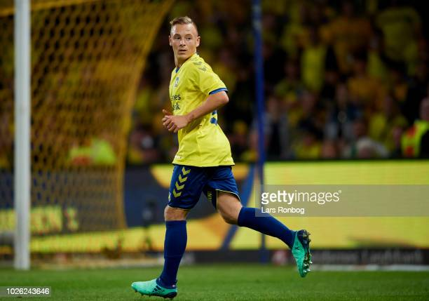 Uffe Bech of Brondby IF in action during the Danish Superliga match between Brondby IF and FC Midtjylland at Brondby Stadion on September 2 2018 in...
