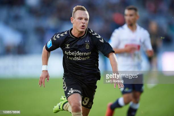 Uffe Bech of Brondby IF in action during the Danish Superliga match between AGF Aarhus and Brondby IF at Ceres Park on September 23 2018 in Aarhus...