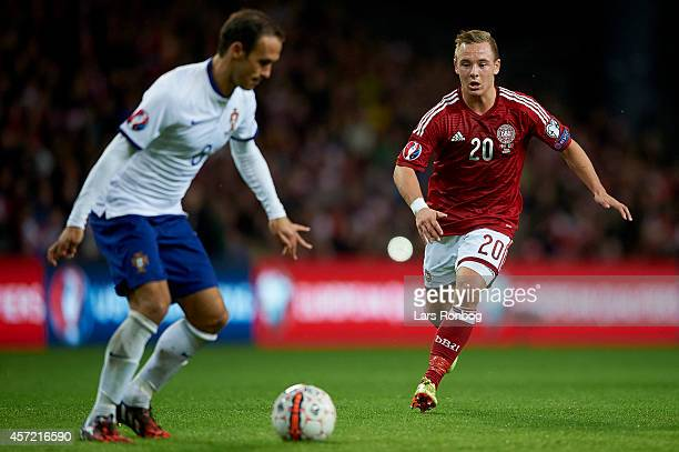 Uffe Bech of Denmark in action during the UEFA 2016 Group I Qualifier between Denmark and Portugal at Telia Parken Stadium on October 14 2014 in...