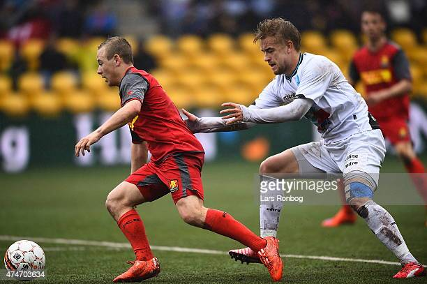 Uffe Bech of FC Nordsjalland and Jacob Tjornelund of Hobro IK compete for the ball during the Danish Alka Superliga match between FC Nordsjalland and...