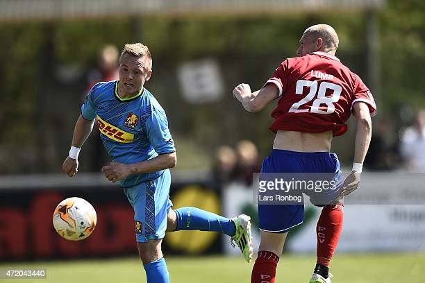 Uffe Bech of FC Nordsjalland and Michael Lumb of FC Vestsjalland compete for the ball during the Danish Alka Superliga match between FC Vestsjalland...