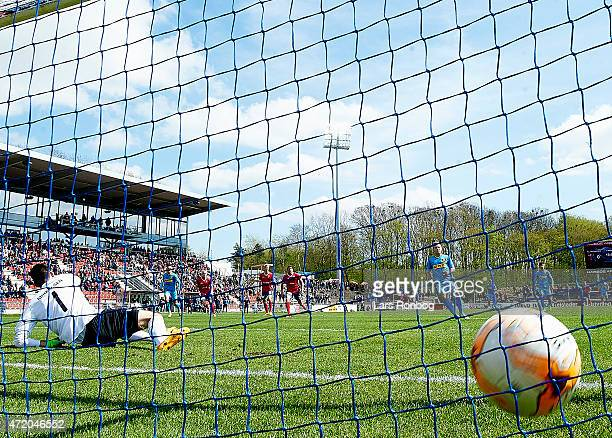 Uffe Bech of FC Nordsjalland scores the 10 goal against Goalkeeper Thomas Mikkelsen of FC Vestsjalland on a penalty during the Danish Alka Superliga...
