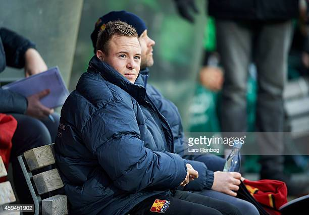 Uffe Bech of FC Nordsjalland sits on the bench prior to the Danish Superliga match between OB Odense and FC Nordsjalland at TreFor Park on November...