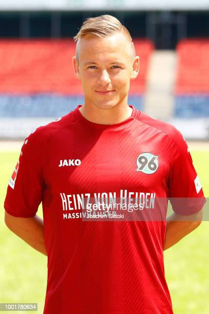 Uffe Bech of Hannover 96 poses during the team presentation at HDIArena on July 19 2018 in Hanover Germany