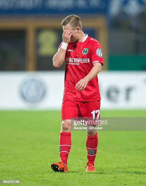 Uffe Bech of Hannover 96 reacts during the second round of the DFB Cup between SV Darmstadt 98 and Hannover 96 at MerckStadion am Boellenfalltor on...