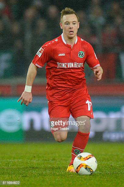 Uffe Bech of Hannover controls the ball during the Bundesliga match between Hannover 96 and FC Augsburg at HDIArena on February 21 2016 in Hanover...