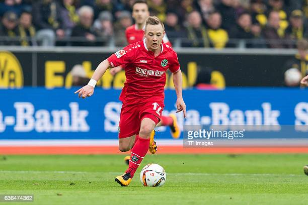 Uffe Manich Bech of Hannover 96 in action during the Bundesliga match between Borussia Dortmund and Hannover 96 at Signal Iduna Park on February 13...