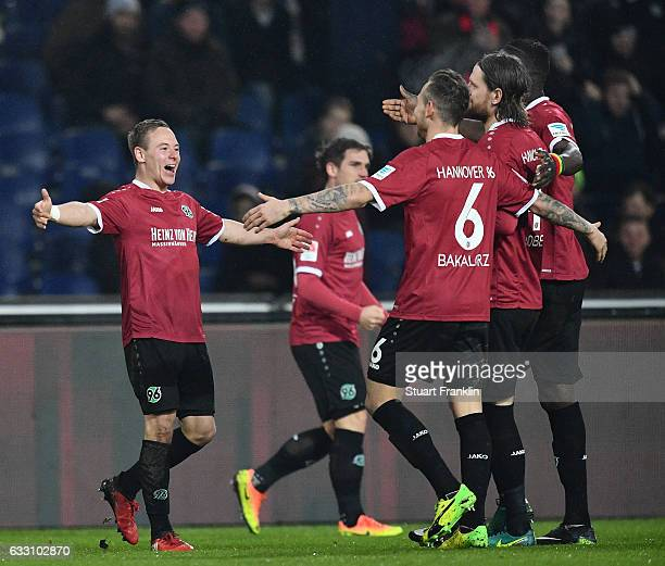 Uffe Manich Bech of Hannover celebrates scoring his goal during the Second Bundesliga match between Hannover 96 and 1 FC Kaiserslautern at HDIArena...